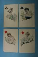 Lot De 4 Cartes Illustration Femmes Cartes à Jouer (4 Couleurs) - Femmes