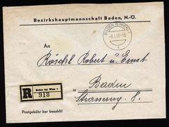 A4804) Österreich Austria R-Brief Baden Bei Wien 8.1.48 - 1945-60 Briefe U. Dokumente