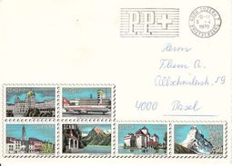 SUISSE - LETTRE AVEC VIGNETTES IMPRIMEES - PUBLICITE TOURISTIQUE - A VOIR - 1970 - Erinnophilie