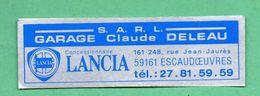 LANCIA GARAGE CLAUDE DELAU 59161 ESCAUDOEUVRES /  AUTOCOLLANT - Autocollants