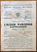 """CATALOGO PUBBLICITARIO 1934 IND.IT.DELL'OZONO L'ACQUA PURISSIMA ELETTRICAMENTE  BREVETTO """"INDO"""" - Pubblicitari"""