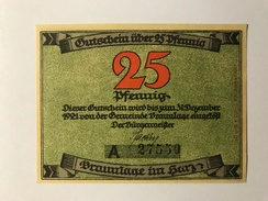 Allemagne Notgeld Braunlage 25 Pfennig - [ 3] 1918-1933 : Weimar Republic