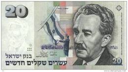 ISRAEL 1993 - NIS 20 - Moshe Sharett- Signed Jacob Frenkel & Shlomo Lorincz - UNC - Israel