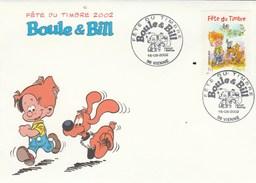 Yvert 3467 BOULE Et BILL FDC  Fête Du Timbre VIENNE Isère 16/3/2002 - Bande Dessinée - 2000-2009