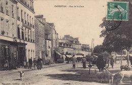 CARENTAN RUE DE LA GARE ( Marché Moutons Magasin Bourrelier ) Circulée Timbrée 1913 - Carentan