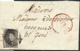 L Affr N°6 De THIELT/1853 + Boîte Rurale K De Denterghem Pour Gand - 1851-1857 Médaillons (6/8)