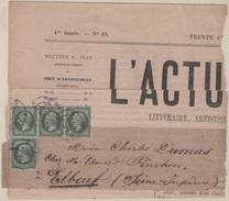 N° 11 X 4. 1c Olive Sur Fragment De Journal - 1849-1876: Période Classique