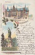 AK Gruss Aus Wiesbaden Rathaus, Kriegerdenkmal Color Gelaufen 1.11.1898 - Wiesbaden