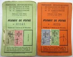 DEUX PERMIS DE PECHE 1966 Et 1967 TIMBRES TAXE PISCICOLE . PISCICULTURE LES PECHEURS SANTONS SAINTES CHANIERS - Pêche