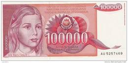 Yugoslavia 100.000 Dinara 1989. AUNC P-97 - Yougoslavie
