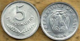 MALI 5 FRANCS WHEAT LEAVES FRONT HIPPOTAMUS HEAD ANIMAL BACK 1961 VF+ KM? READ DESCRIPTION CAREFULLY !!! - Monedas