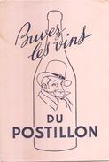 France Buvard Les Vins Du Postillon ( Pliure, Auréole ) 21 Cm X 14 Cm - Buvards, Protège-cahiers Illustrés