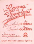 France Buvard Cahier Corona Et Trois épis ( Pliure ) 21 Cm X 16 Cm - Stationeries (flat Articles)