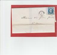 20C Empire N°14 Bord De Feuille - Largentiere - LSC 1861 - Marcophilie (Lettres)