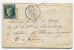 GERS De AUCH GC 212 Sur N°37 Sur Env. Du 31/08/1871 Dernier Jour Du Tarif!!!!!!!!!!!!!!!!!!!!!!!!!!!!!!!!!! - 1849-1876: Classic Period