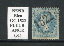 FRANCE- Y&T N°29A- GC 1522 (FLEURANCE 31) - Marcophilie (Timbres Détachés)