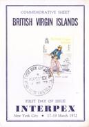 BRITISH VIRGIN ISLANDS - 19-03-1972 FIRST DAY CARD - INTERPEX 1972 , NEW YORK CITY - British Virgin Islands