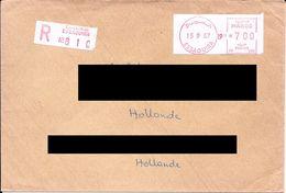 Lettre Recommandée D'Essaouira Pour Les Pays Bas Avec Vignette De Guichet Rouge. (Voir Commentaires) - Maroc (1956-...)