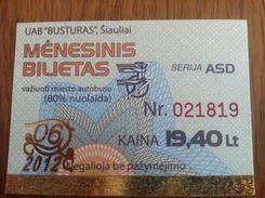 Lithuania Litauen Monthly Bus Ticket 80% Discount Siauliai 2012 06 - Europa