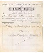 90 - Danjoutin Facture Vins Eaux-de-Vie Vinaigres Et Liqueurs Joseph Fleur 1892 - Factures