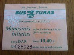 Lithuania Litauen Monthly Bus Ticket 80% Discount Siauliai 2013 11 - Europa