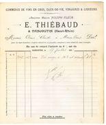 90 - Danjoutin Facture Vins Eaux-de-Vie Vinaigres Et Liqueurs E. Thiébaud 1896 - Factures