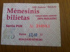 Lithuania Litauen Monthly Bus Ticket 80% Discount Siauliai 2010 10 - Europa