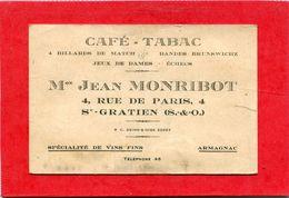 95  .St   GRATIEN  ,  Café  Tabac .Avec  Horaire Des Trains PARIS - ST  GRATIEN . - Cartes De Visite