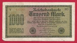 Billet Allemand - Mille Mark - N° 412761 - [ 2] 1871-1918 : German Empire