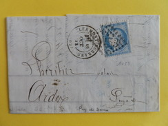 CERES DENTELE 60 SUR LETTRE DE CLERMONT FERRAND A ARDES SUR COUZE (GROS CHIFFRE 1053) - Marcophilie (Lettres)