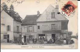 "77 JOSSIGNY TRES BELLE CPA 1908 ""RESTAURANT DESFLEURS"" (CYCLISTES) - France"