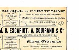 13 / AIX EN PROVENCE / FABRIQUE DE PYROTECHNIE / ESCARIOT GOUIRAND/ PONT DE BERAUD - Cartoncini Da Visita