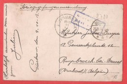 KRIESGEFANGENENSENDUNG Photo Prisonnier  Belge Camp De GÜSTROW  Le 23 X 1918  Vers RUYSBROEK  Le 11 III 1919 ! - Weltkrieg 1914-18
