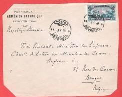 LIBAN République Libanaise  Devant De L  Patriarcat Arménien Catholique  Obl  BEYROUTH  3 IV 1929  Vers Bruges - Liban