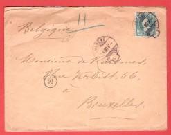SUISSE HELVETIA Obl Genève 1 X 1886 Vers Bruxelles Cfr Verso - 1882-1906 Armarios, Helvetia De Pie & UPU