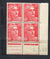 3950   FRANCE N°  813**   15f      Marianne  De Gandon  Du 8/7/49       SUPERBE - Coins Datés