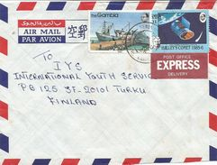 Gambia 1986 Serekunda Halley's Comet NASA Infrared Satellitte Fishing Boat Express Cover - Gambia (1965-...)