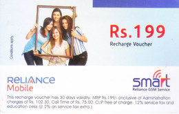 MOBILE / TELEPHONE CARD, INDIA - RELIANCE MOBILE, SMART RS. 199 TOP UP VOUCHER - Magnets
