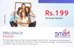 MOBILE / TELEPHONE CARD, INDIA - RELIANCE MOBILE, SMART RS. 199 TOP UP VOUCHER - Non Classés