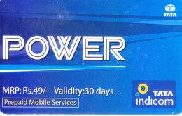 MOBILE / TELEPHONE CARD, INDIA - TATA INDICOM PREPAID MOBILE POWER RS. 49 - Unclassified