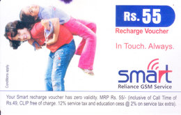 MOBILE / TELEPHONE CARD, INDIA - RELIANCE MOBILE SMART RS. 55 RECHARGE VOUCHER - Non Classés