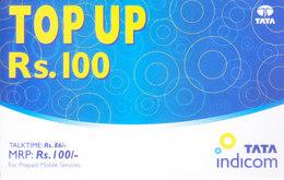 MOBILE / TELEPHONE CARD, INDIA - TATA INDICOM PREPAID MOBILE CARD RS. 100 TOP UP - Non Classés