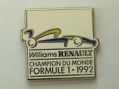 PIN'S WILLIAMS RENAULT - CHAMPION DU MONDE FORMULE 1992 - F1