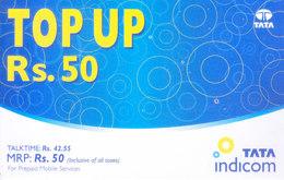 MOBILE / TELEPHONE CARD, INDIA - TATA INDICOM PREPAID MOBILE CARD RS. 50 TOP UP - Unclassified