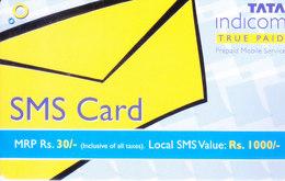 MOBILE / TELEPHONE CARD, INDIA - TATA INDICOM RS. 30 SMS CARD - Unclassified