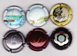 6 Capsules Muselets 2 Sanger Dont 1 Gris 2 Vouvray Cancen 1 Bijou 1 Vouvray Monmousseau - Capsules & Plaques De Muselet
