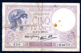 509-Billet De 5 Francs 1940 GA W66737 - 1871-1952 Anciens Francs Circulés Au XXème