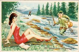 """CPSM Pin-up Sexy Pêcheur Pêche à La Ligne """"Oh ! Deviendrais-tu Grossier ?""""  Illustrateur L. CARRIERE N° 50312 Glacée - Carrière, Louis"""