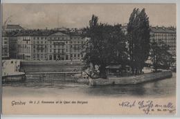 Geneve - Ile J.J. Rouseau Et Le Quai Des Bergues, Hotel Des Bergues - Animee - GE Genève