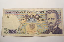 BILLET POLOGNE 200 ZLOTYCH 1982 - Poland